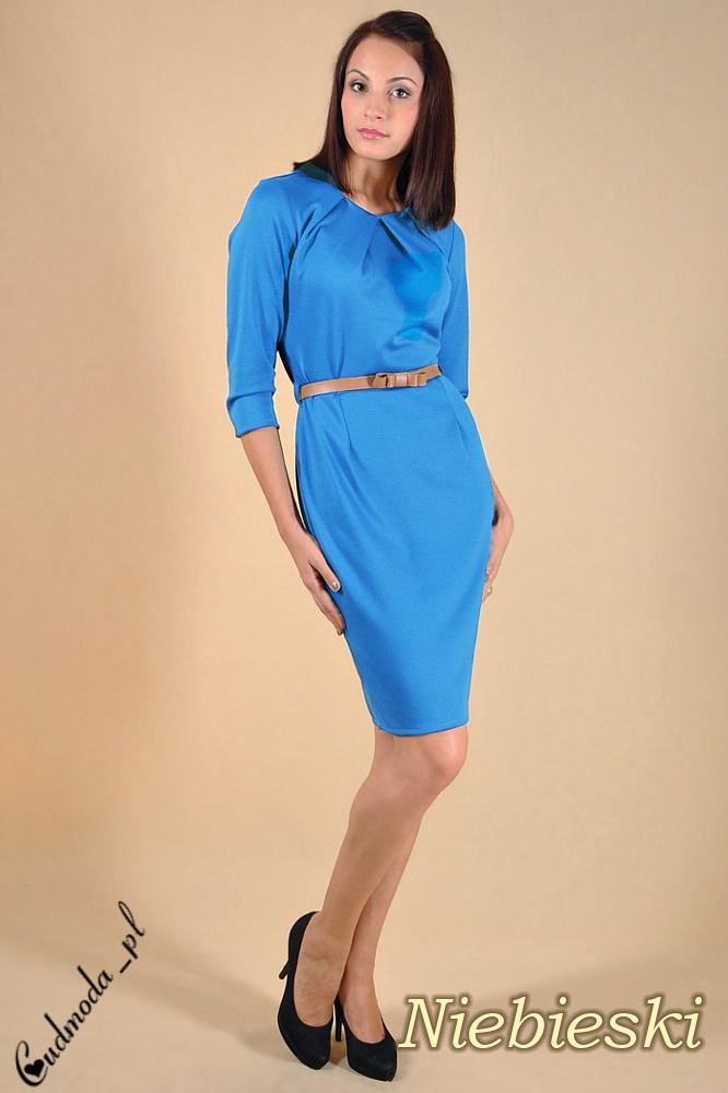 CM0004 Elegancka sukienka ołówkowa - niebieska