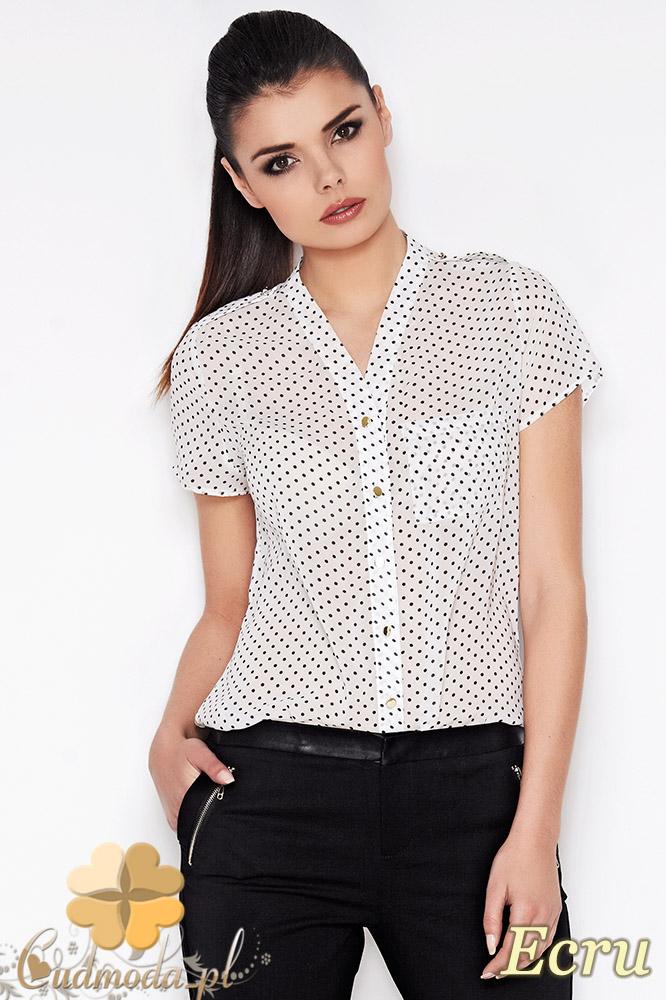 CM0901 AWAMA A71 Koszula damska w kropeczki z krótkim rękawem - ecru