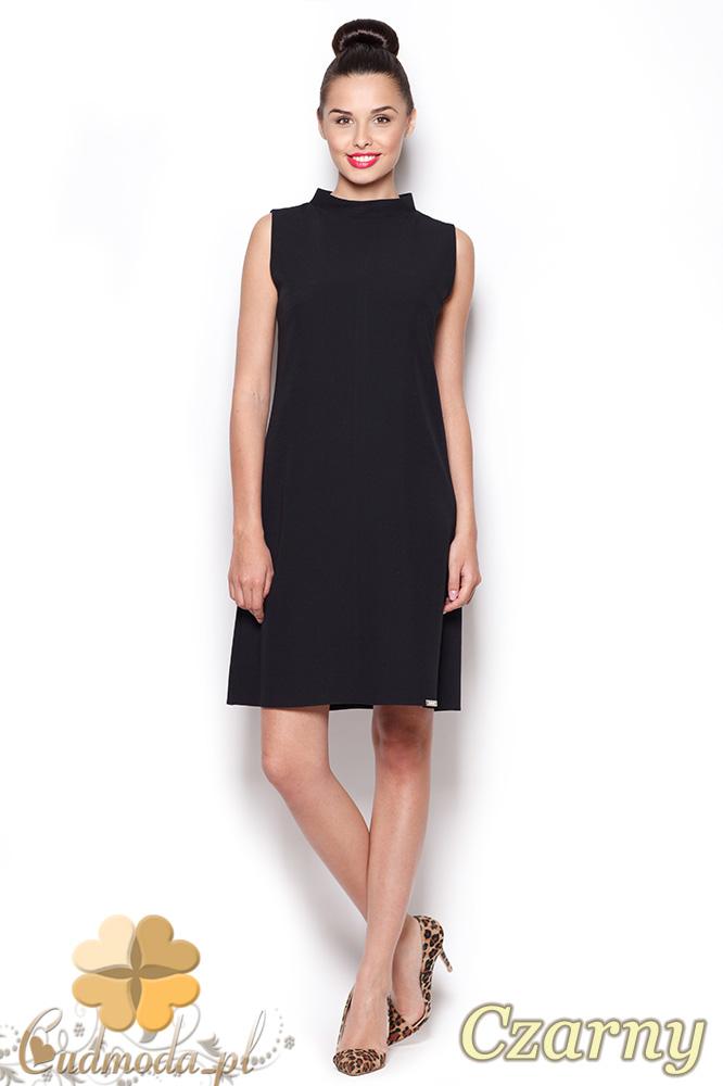 CM0909 FIGL M299 Prosta sukienka tunika z mini golfem - czarna