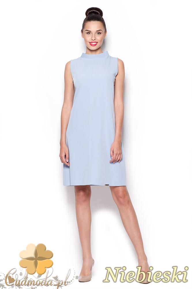 CM0909 FIGL M299 Prosta sukienka tunika z mini golfem - niebieska