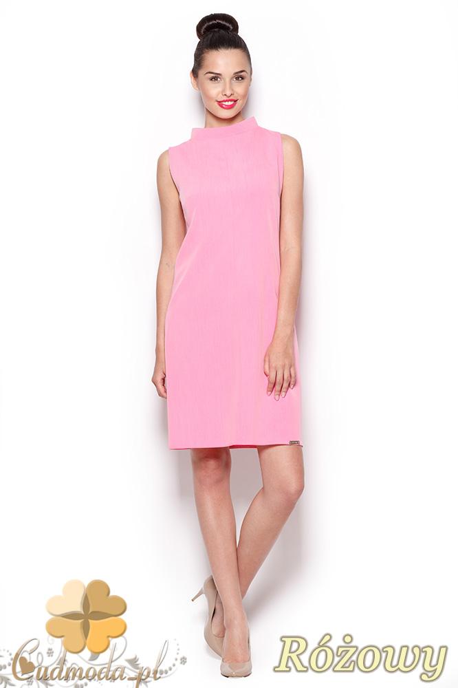 CM0909 FIGL M299 Prosta sukienka tunika z mini golfem - różowa