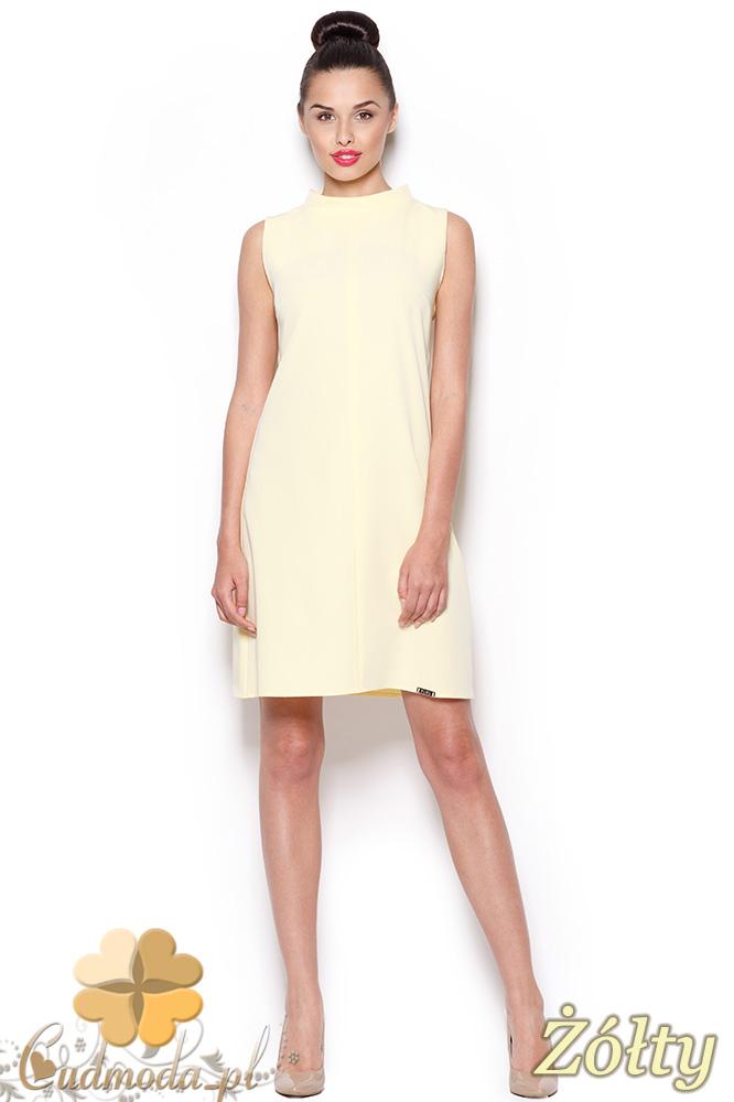 CM0909 FIGL M299 Prosta sukienka tunika z mini golfem - żółta
