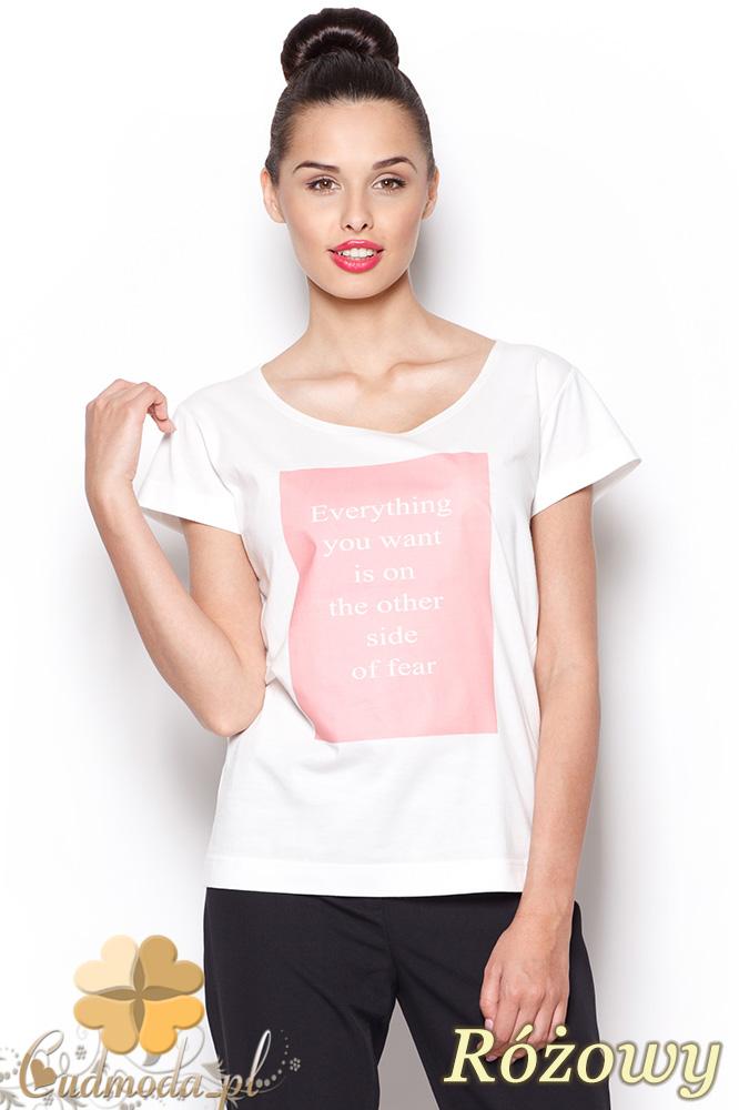 CM0910 FIGL M296 Koszulka damska z napisem - różowy nadruk