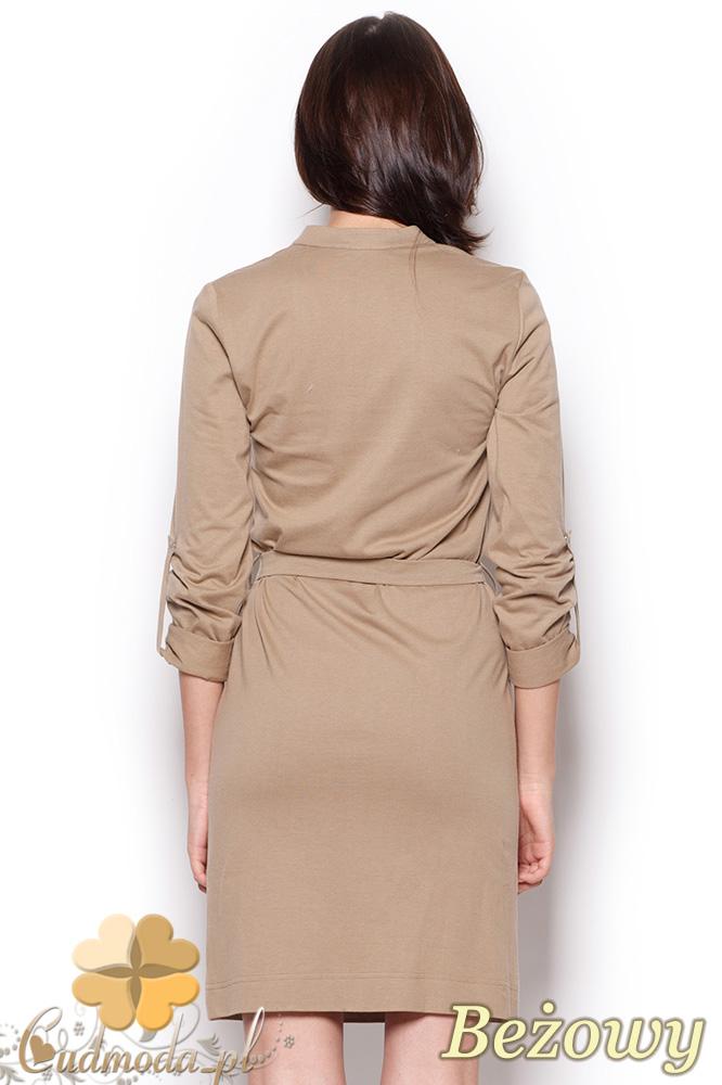 CM0911 FIGL M287 Sukienka mini wiązana w pasie rękawy z możliwością podpięcia na 3/4 - beżowa