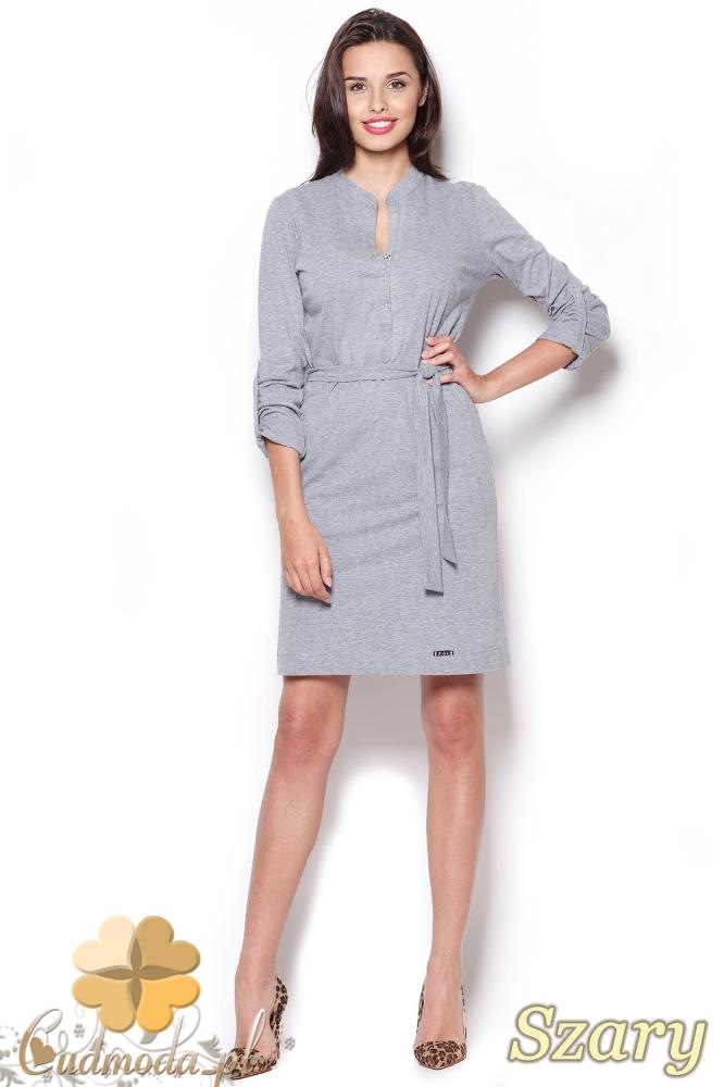 CM0911 FIGL M287 Sukienka mini wiązana w pasie rękawy z możliwością podpięcia na 3/4 - szara