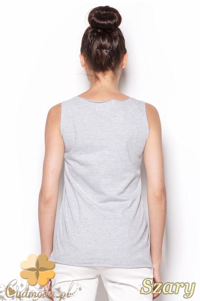 CM0912 FIGL M292 Prosty sportowy t-shirt damski bez rękawów - szara