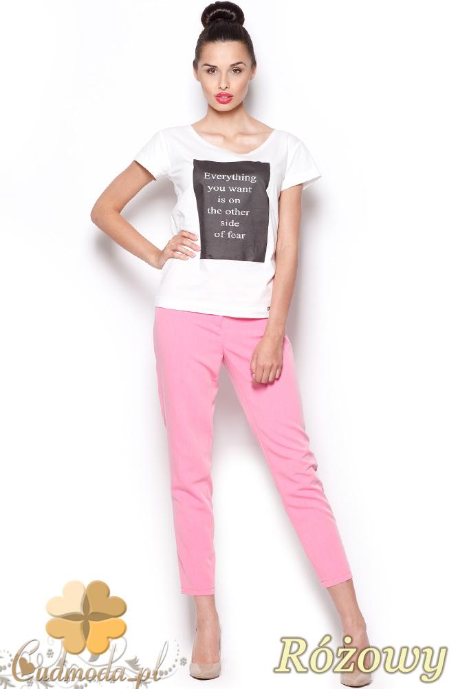 CM0913 FIGL M293 Eleganckie spodnie damskie 7/8 - różowe