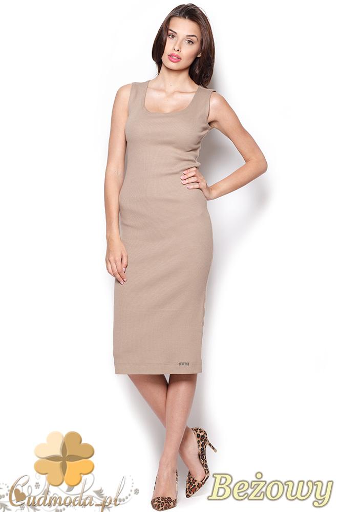 CM0920 FIGL M282 Bawełniana dopasowana sukienka za kolano - beżowa