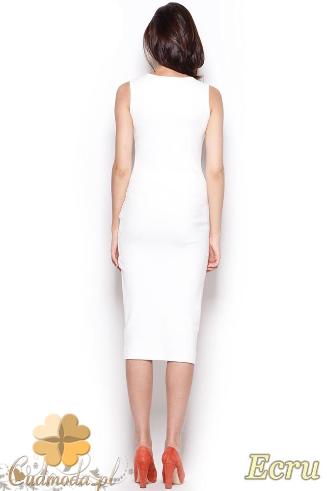 CM0920 FIGL M282 Bawełniana dopasowana sukienka za kolano - ecru