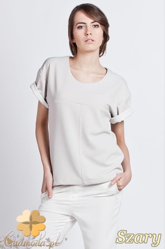 CM0930 LANTI BLU104  Bluzka damska z wywijanym krótkim rękawem w innym kolorze - szara
