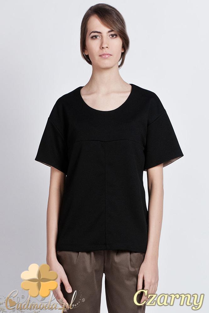 CM0930 LANTI BLU104  Bluzka damska z wywijanym krótkim rękawem w innym kolorze - czarna