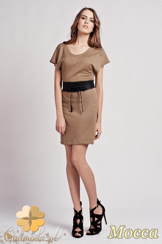 CM0938 LANTI SUK101 Sukienka tunika z dzianiny z krótkim luźnym rękawem - mocca