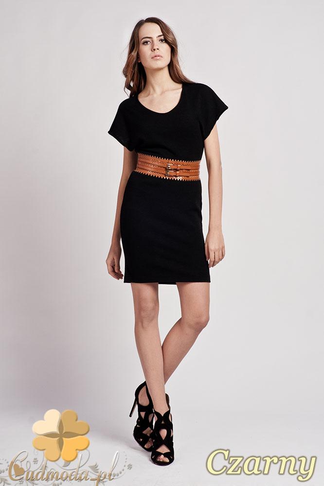 CM0938 LANTI SUK101 Sukienka tunika z dzianiny z krótkim luźnym rękawem - czarna