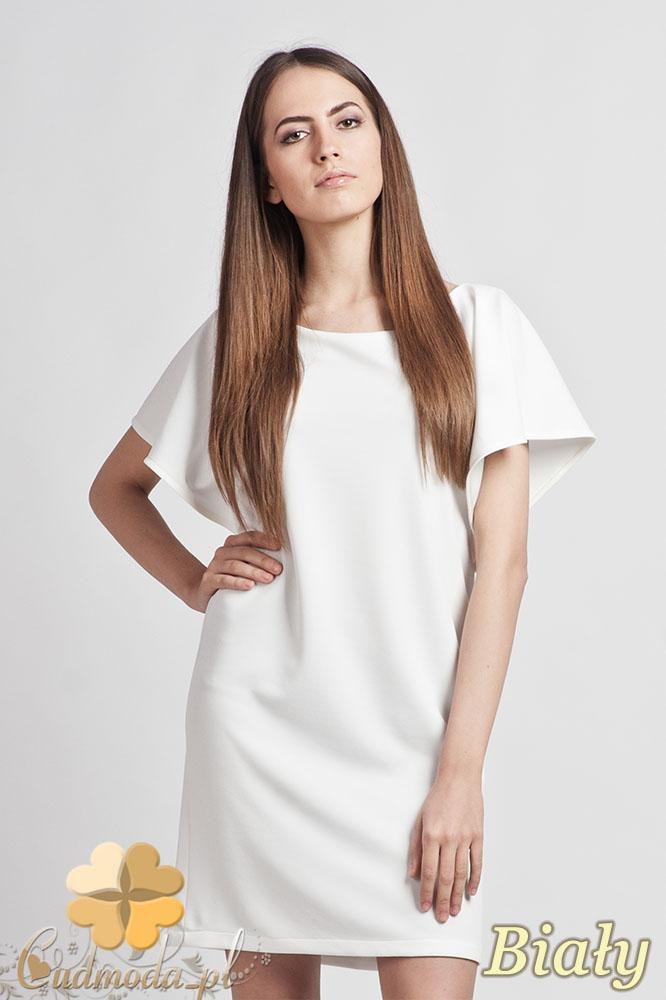 CM0940 LANTI SUK104 Elegancka sukienka tunika o prostym kroju z szerokim rękawkiem - biała