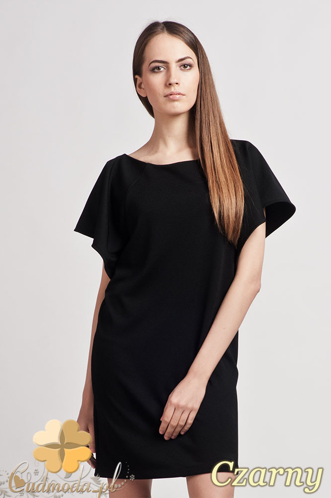 CM0940 LANTI SUK104 Elegancka sukienka tunika o prostym kroju z szerokim rękawkiem - czarna