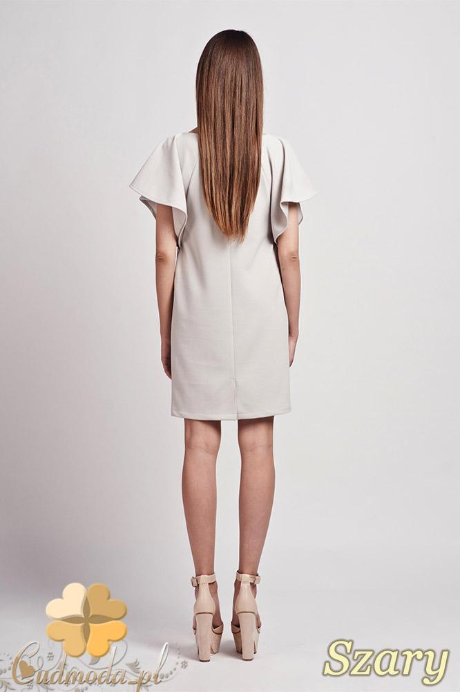 CM0940 LANTI SUK104 Elegancka sukienka tunika o prostym kroju z szerokim rękawkiem - szara