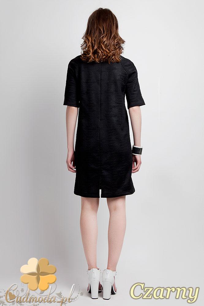 CM0944 LANTI SUK112 Sukienka tunika w luźnym fasonie - czarna OUTLET