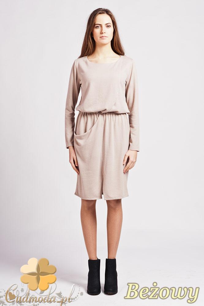 CM0948 LANTI SUK109 Sukienka mini z rozcięciem z przodu i asymetryczną kieszenią - beżowa