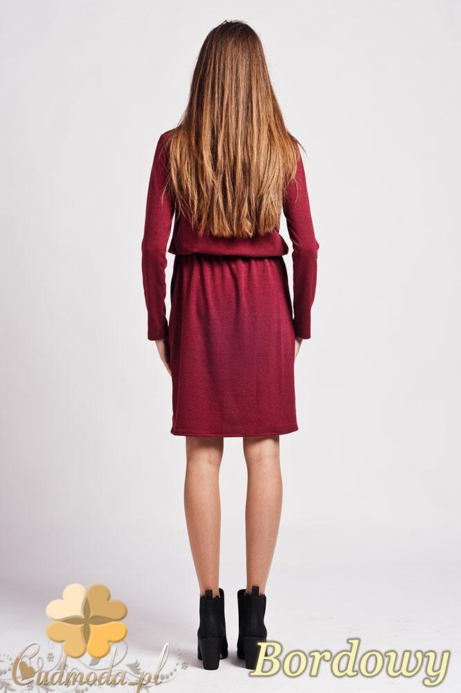 CM0948 LANTI SUK109 Sukienka mini z rozcięciem z przodu i asymetryczną kieszenią - bordowa