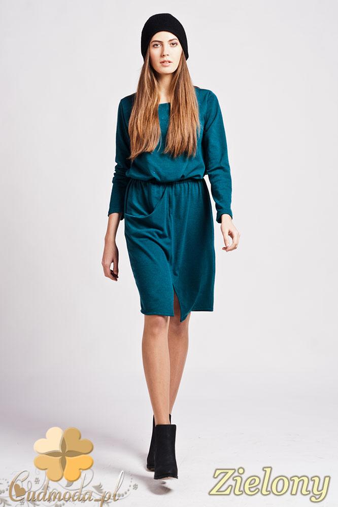 CM0948 LANTI SUK109 Sukienka mini z rozcięciem z przodu i asymetryczną kieszenią - zielona