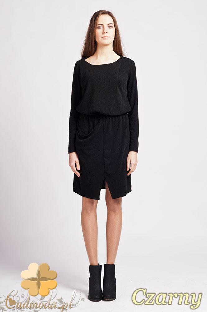 CM0948 LANTI SUK109 Sukienka mini z rozcięciem z przodu i asymetryczną kieszenią - czarna