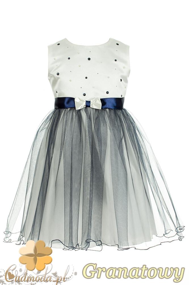 MA069 Tiulowa sukienka dziewczęca z ozdobnymi koraliczkami