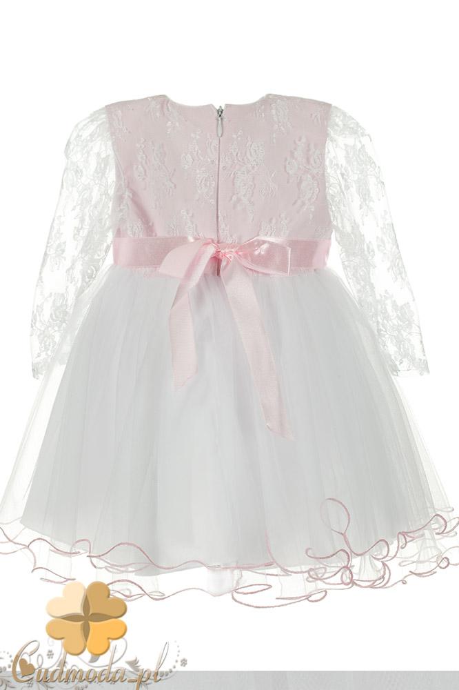 MA076 Sukienka dziecięca z koronkowym rękawem