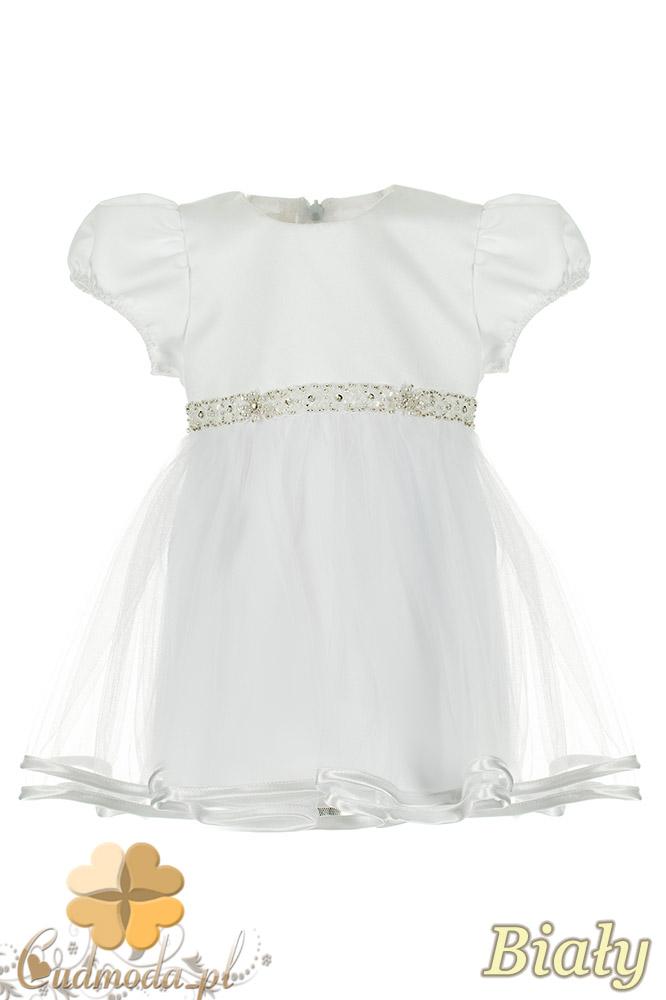 MA073 Urocza sukienka dziecięca idealna na chrzest - biała OUTLET