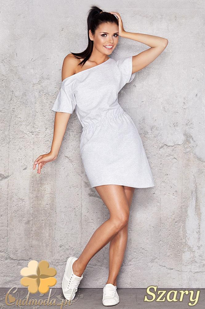 CM0949 INFINITE YOU M001 Asymetryczna sukienka tunika z dresowej tkaniny - szara