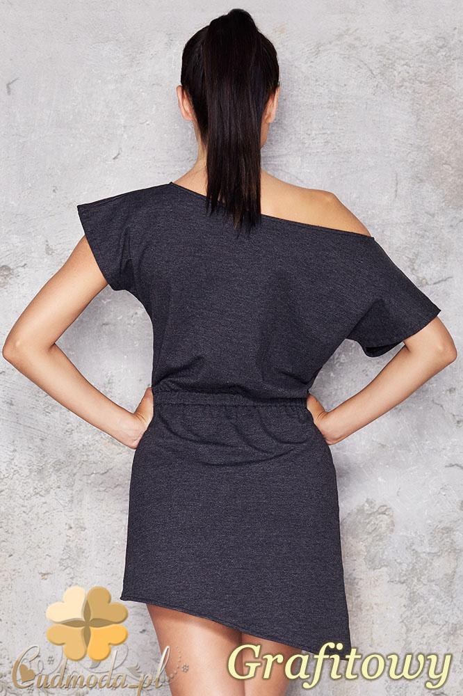 CM0949 INFINITE YOU M001 Asymetryczna sukienka tunika z dresowej tkaniny - grafitowa