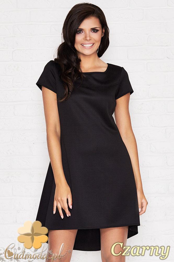 CM0950 INFINITE YOU M003 Asymetryczna sukienka tunika - czarna