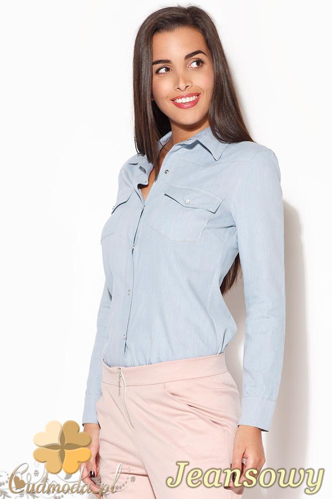 CM0956 KATRUS K171 Jeansowa koszula damska - jeansowa