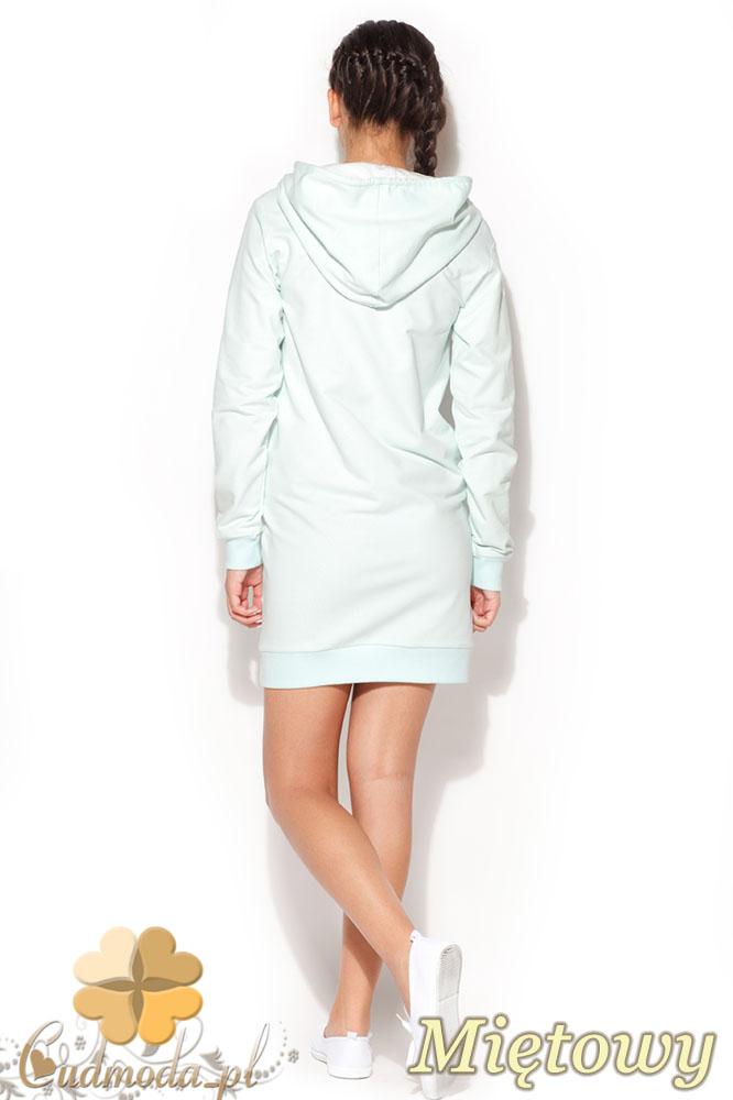 CM0958 KATRUS K189 Sukienka tunika w sportowym stylu z kapturem - miętowa