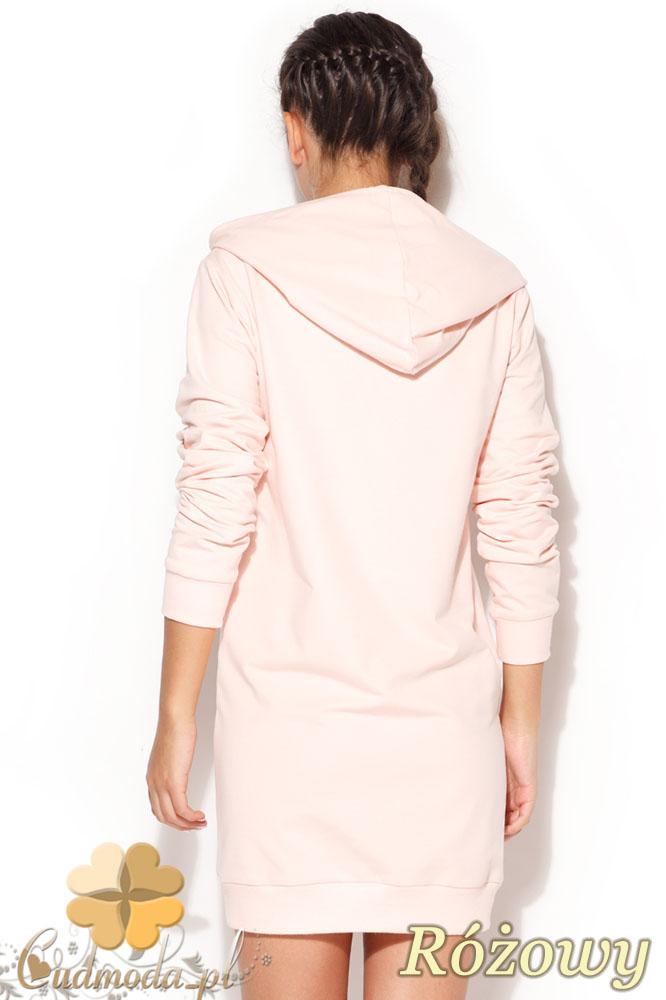 CM0958 KATRUS K189 Sukienka tunika w sportowym stylu z kapturem - różowa