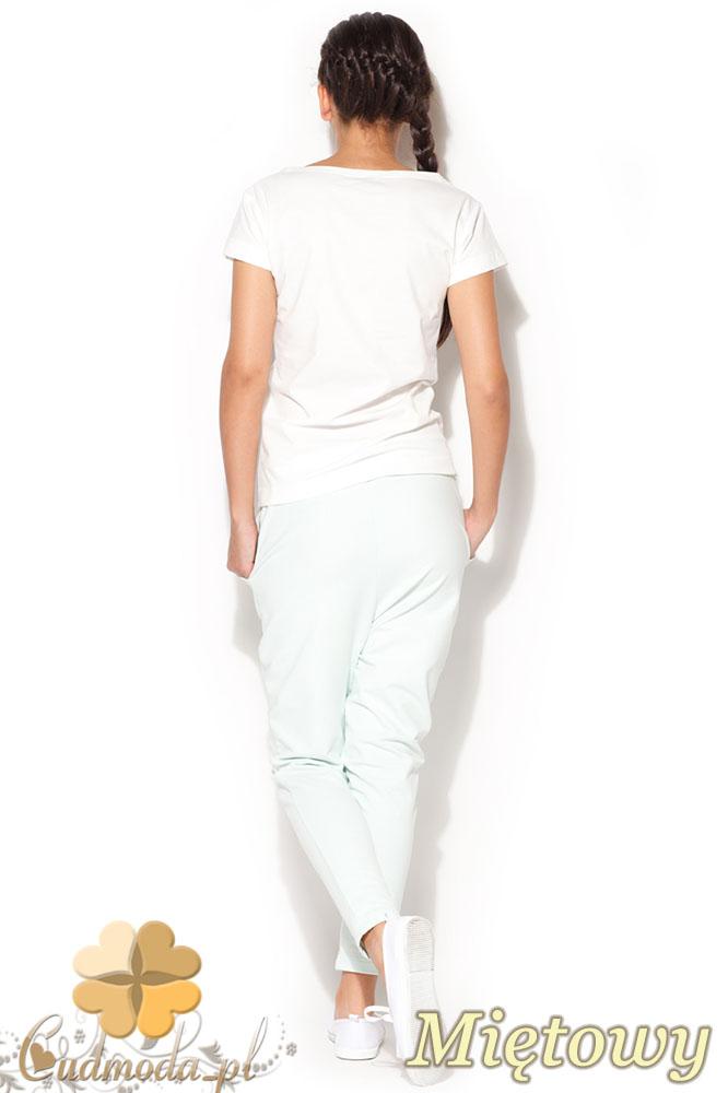 CM0959 KATRUS K187 Dresowe spodnie damskie z obniżonym krokiem - miętowe