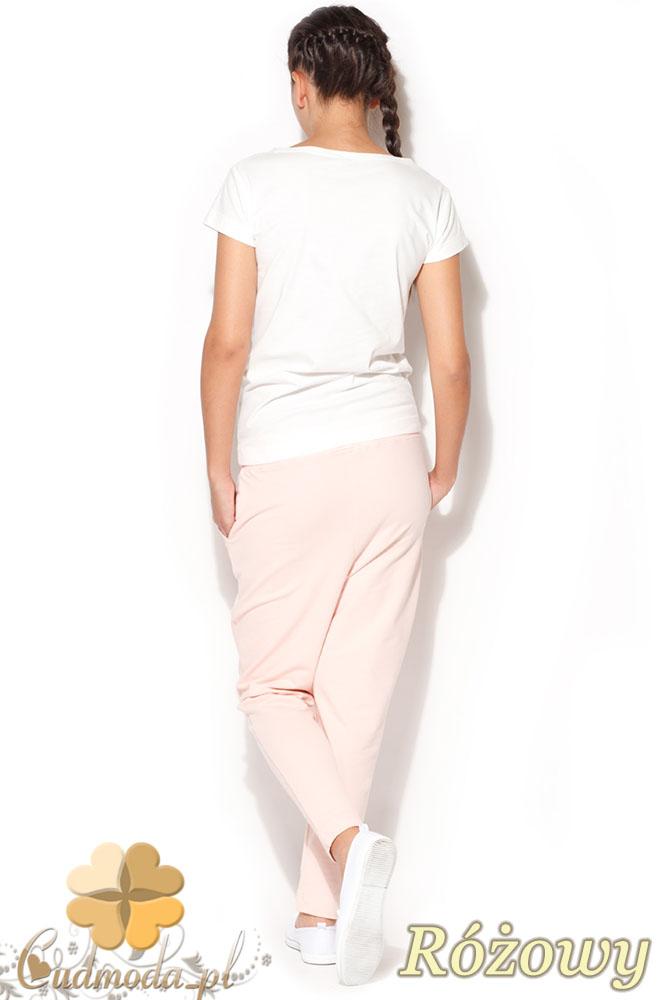 CM0959 KATRUS K187 Dresowe spodnie damskie z obniżonym krokiem - różowe
