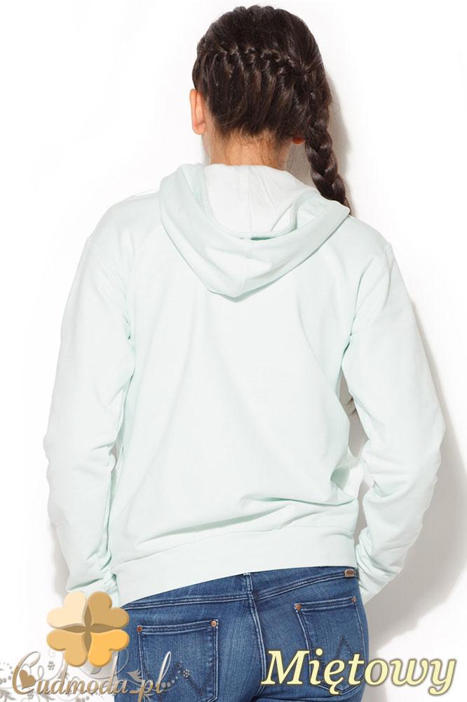 CM0960 KATRUS K190 Dresowa bluza damska zapinana na napy - miętowa