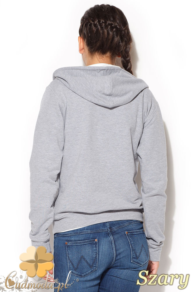 CM0960 KATRUS K190 Dresowa bluza damska zapinana na napy - szara