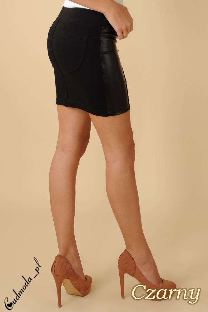 CM0085 Włoska mini spódniczka ze skórzaną wstawką