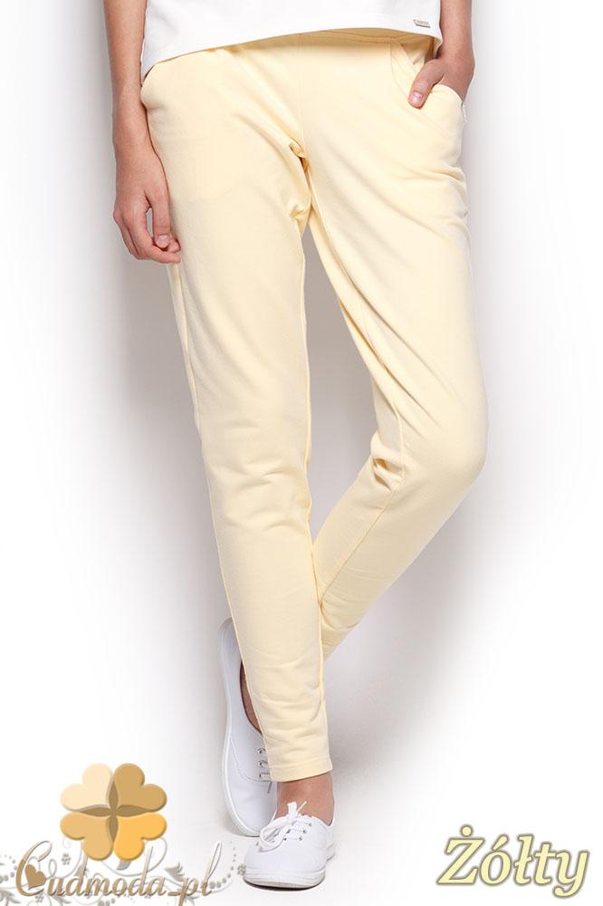 CM0961 FIGL M305 Eleganckie dresowe spodnie z kieszeniami - żółte