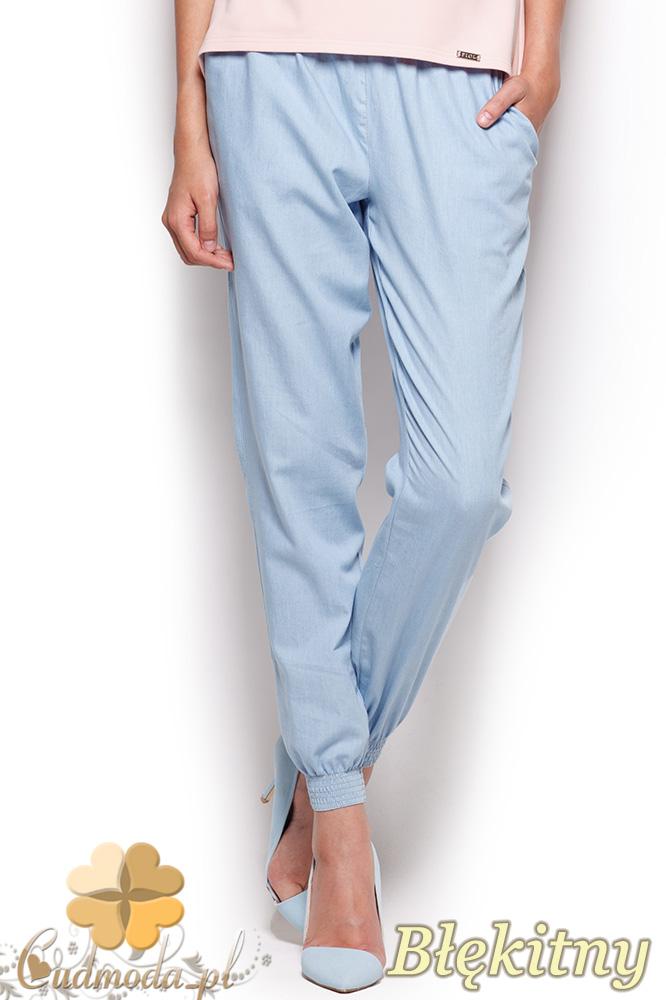CM0963 FIGL M307 Spodnie damskie ze ściągaczami przy nogawkach - błękitne