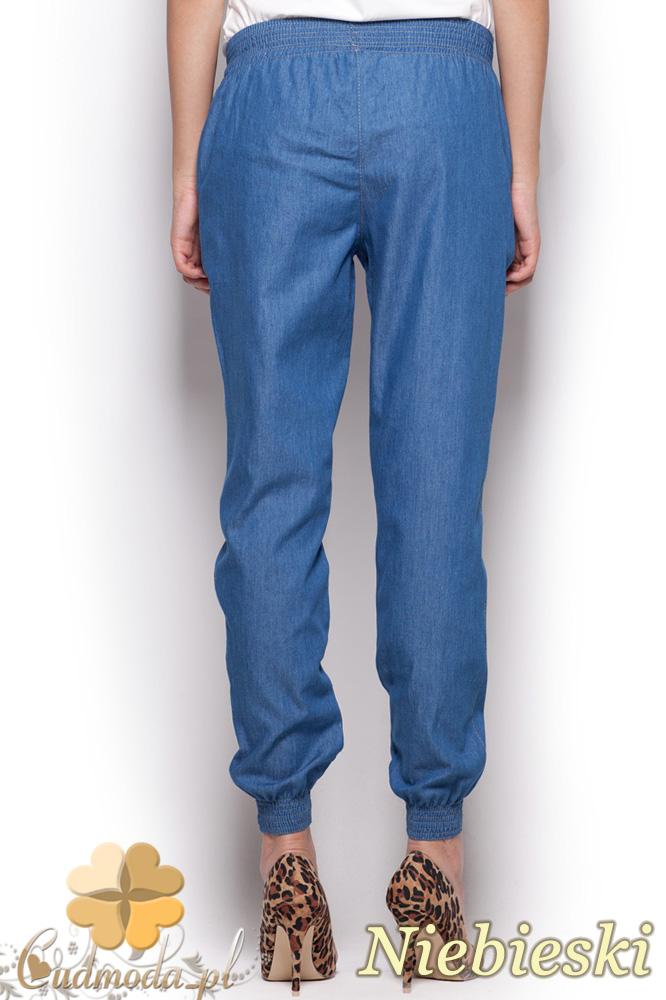 CM0963 FIGL M307 Spodnie damskie ze ściągaczami przy nogawkach - niebieskie