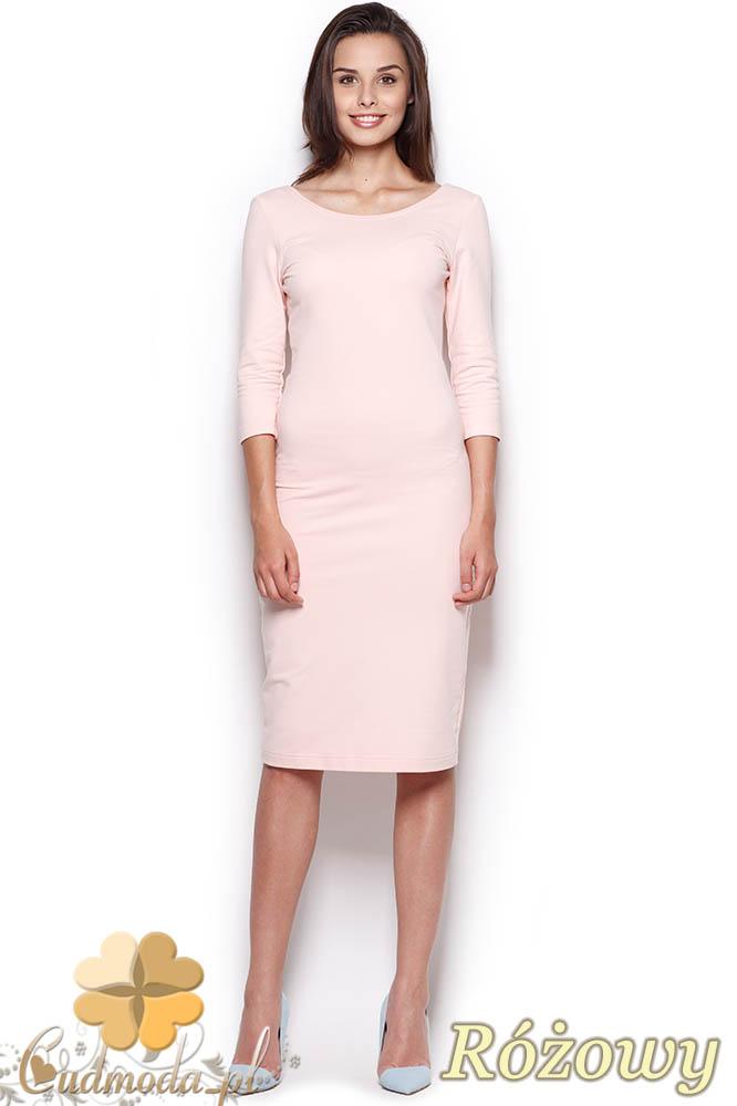 CM0969 FIGL M301 Gładka sukienka midi za kolano z rękawem - różowa