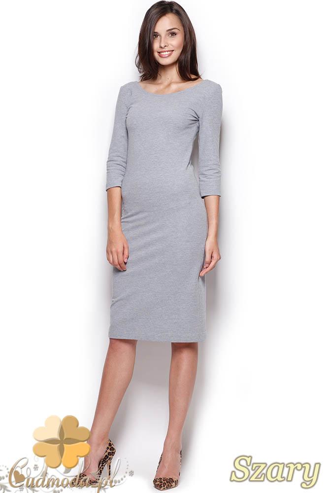 4f5725ed32 CM0969 FIGL M301 Gładka sukienka midi za kolano z rękawem - szara ...