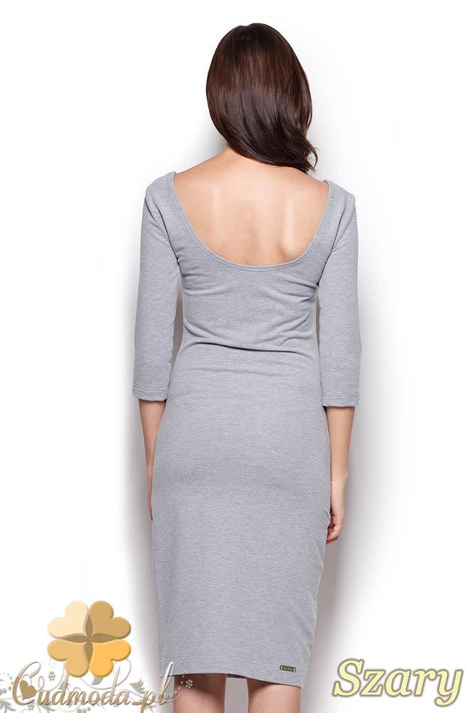 CM0969 FIGL M301 Gładka sukienka midi za kolano z rękawem - szara