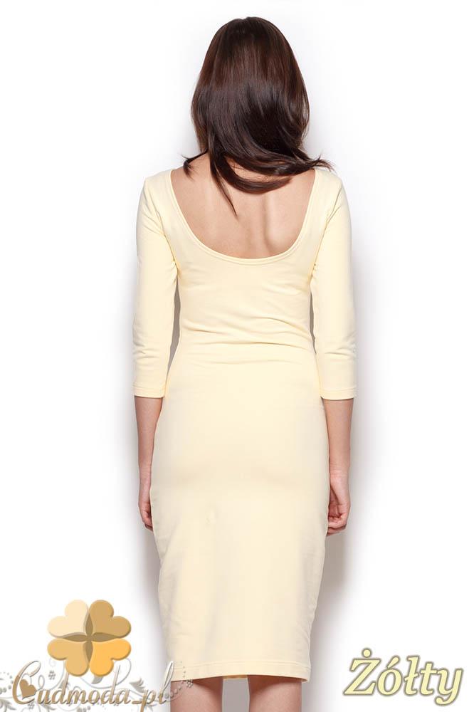 CM0969 FIGL M301 Gładka sukienka midi za kolano z rękawem - żółta