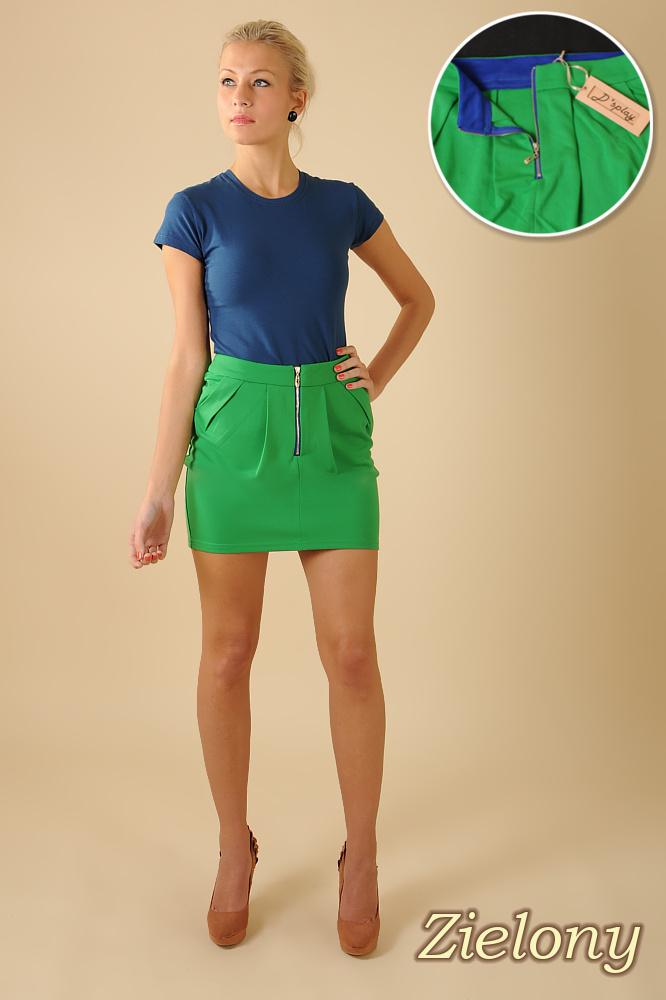 CM0066 Mini spódnica spódniczka ołówkowa tulipan - zielona