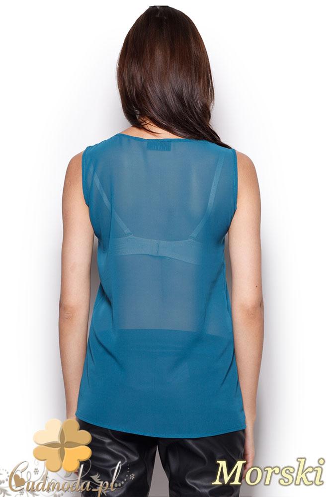 CM0971 FIGL M303 Zwiewna bluzka damska bez rękawów z kokardą - morska