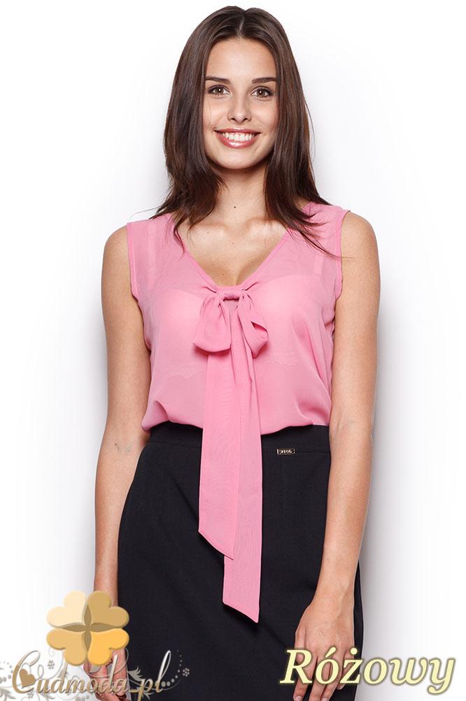CM0971 FIGL M303 Zwiewna bluzka damska bez rękawów z kokardą - różow