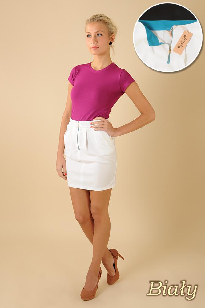 CM0066 Mini spódnica spódniczka ołówkowa tulipan - biała